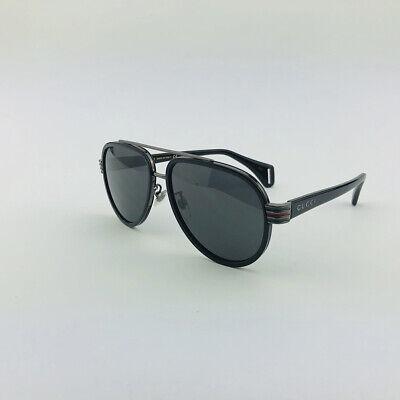 New GUCCI GG0447S 001 Black Gray Aviator Sunglasses Eyewear Women Men