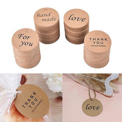 Diy Name Tags (100 Round Kraft Paper Tags Gift Price Craft Card Name DIY Tags Wedding Favor)