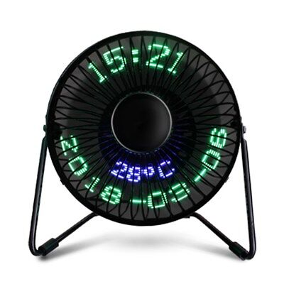 Mini USB Table Desk Cooling Fan LED Clock w// Real Time Display Temperature