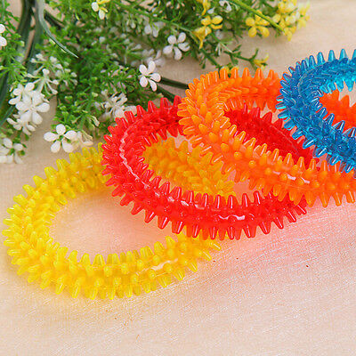 Non-toxic Rubber Pet Dog Puppy Dental Teeth Healthy Chew Biting Ring Play Toy -