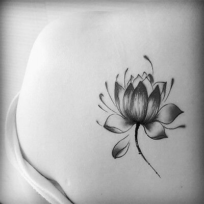 Schwarze wasserdichte Lotus Flower Tattoo Aufkleber Floral temporäre Body UE ()