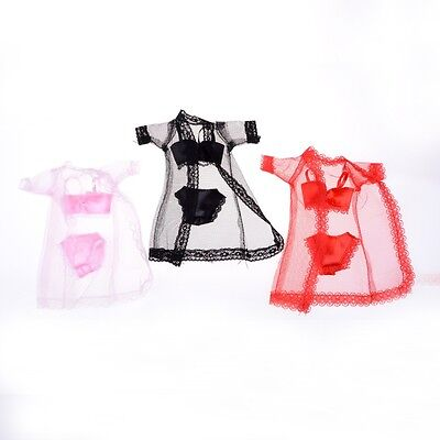 - 3PCS/Set Sexy Lace Night Dress + Bra+Underwear Clothes For Doll Skirt Clothes LR