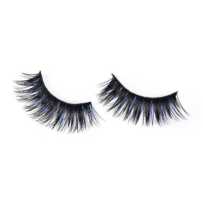 5 Pairs Blue Black Long Thick Cross False Eyelashes Handmade Eye Lashes MakeupVV - $6.64