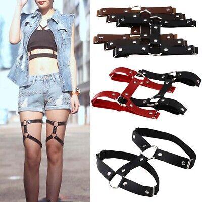 Punk Women's Faux Leather Garter Belt Leg Ring Harness Club Adjustable -