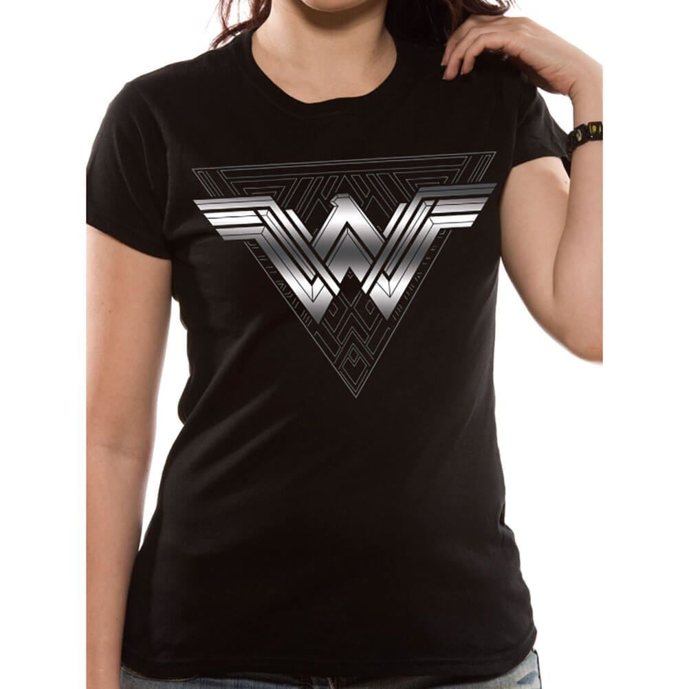 23fb8f6abe33 Details about Women's Wonder Woman Movie Logo Foil Triangle T-Shirt