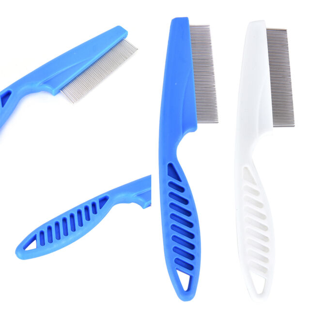 Great Plastic White Tooth Comb Pet Dog Cat Grooming Cleaning Remove Flea SL