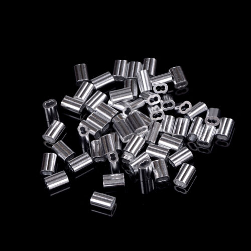 50pcs 1.5mm Cable Crimps Aluminum Sleeves Cable Wire Rope Clip Fitting RS