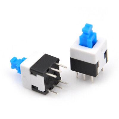 10x Square 8x8mm 6 Pin Dpdt Mini Push Button Self-locking Multimeter Switches Sp