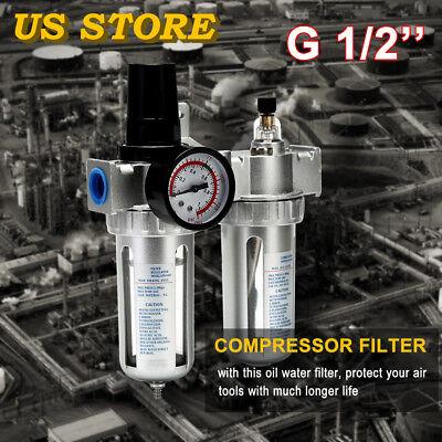G12 Air Compressor Filter Oil Water Separator Trap Tools Digit Regulator Gauge