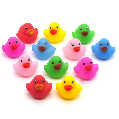 12 Pcs Colorful Baby Children Bath Toys Cute Rubber Squeaky Duck Ducky NM