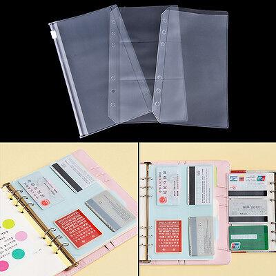 A5a6 Transparent Zip Lock Envelope Binder Pocket Refill Organiser Stationery 7n