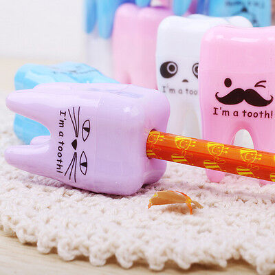 2x Super Cute Tooth Pattern Pencil Sharpener School Kids Office Supplies Nice