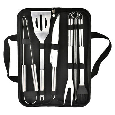 9 PCS BBQ Grill Cooking Utensils Tool Set Stainless Steel Barbeque Portable Case