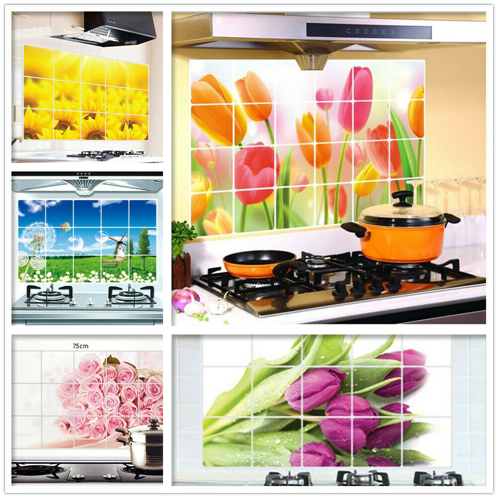Home Decoration - Oil Proof Aluminum Foil Sticker Kitchen Floral Wall Paper Home Decor Wall Tiles