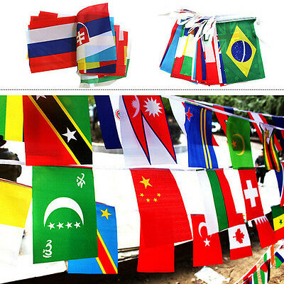 100X Countries String Flags 25M International World 82ft Party Banner Bunting P0