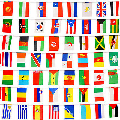100x Countries String Flags 25M International World 82ft Party Banner Bunting