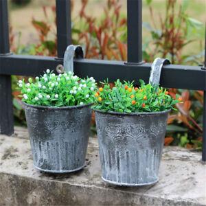 Vintage Metal Hanging Planter Flower Pot Balcony Garden Plant Home Decor VXUS
