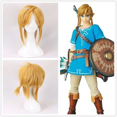 Legend Of Zelda Link Wig (Link The Legend of Zelda: Breath of the Wild Short Blonde cosplay Wig +a wig)