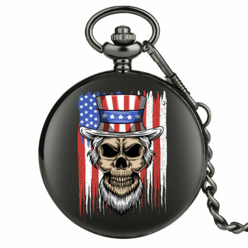 American Flag Pocket Watch Uncle Sam Skull USA Black with Chain FREE SHIPPING !