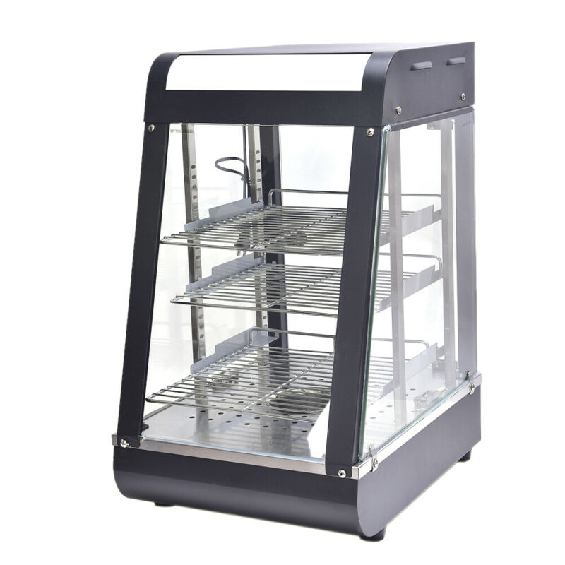 """15"""" Commercial Food Warmer Court Heat Food pizza Display Warmer Cabinet Glass"""