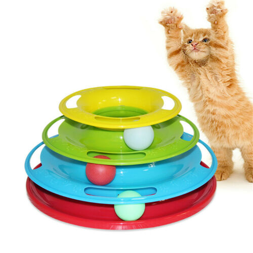 Pet Cat Crazy Ball Disk Interactive Toys Amusement Plate Trilaminar Funny Toy PM