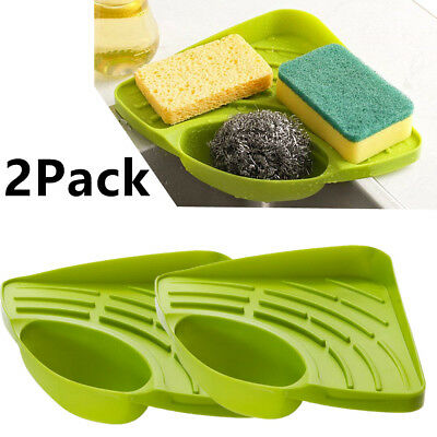 2X Kitchen Sink Corner Storage Rack Sponge Holder Cleaning Brush Holder Bathroom