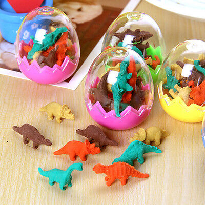 8pcs Dinosaur Egg Pencil Rubber Eraser Students Office Stationery Kid Toy Fun RS