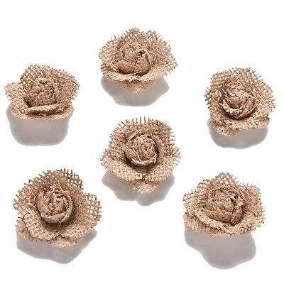 6Pcs Handmade Burlap Natural Pearl Roses Shabby Flowers Rustic Wedding Decors CH