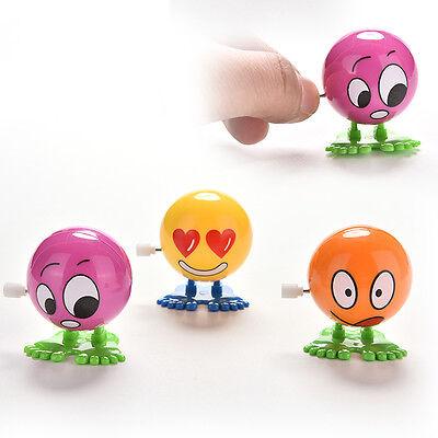 2 Pcs Wind up Face Colorful Funny  Cartoon Somersault Running Clockwork Toys  9U