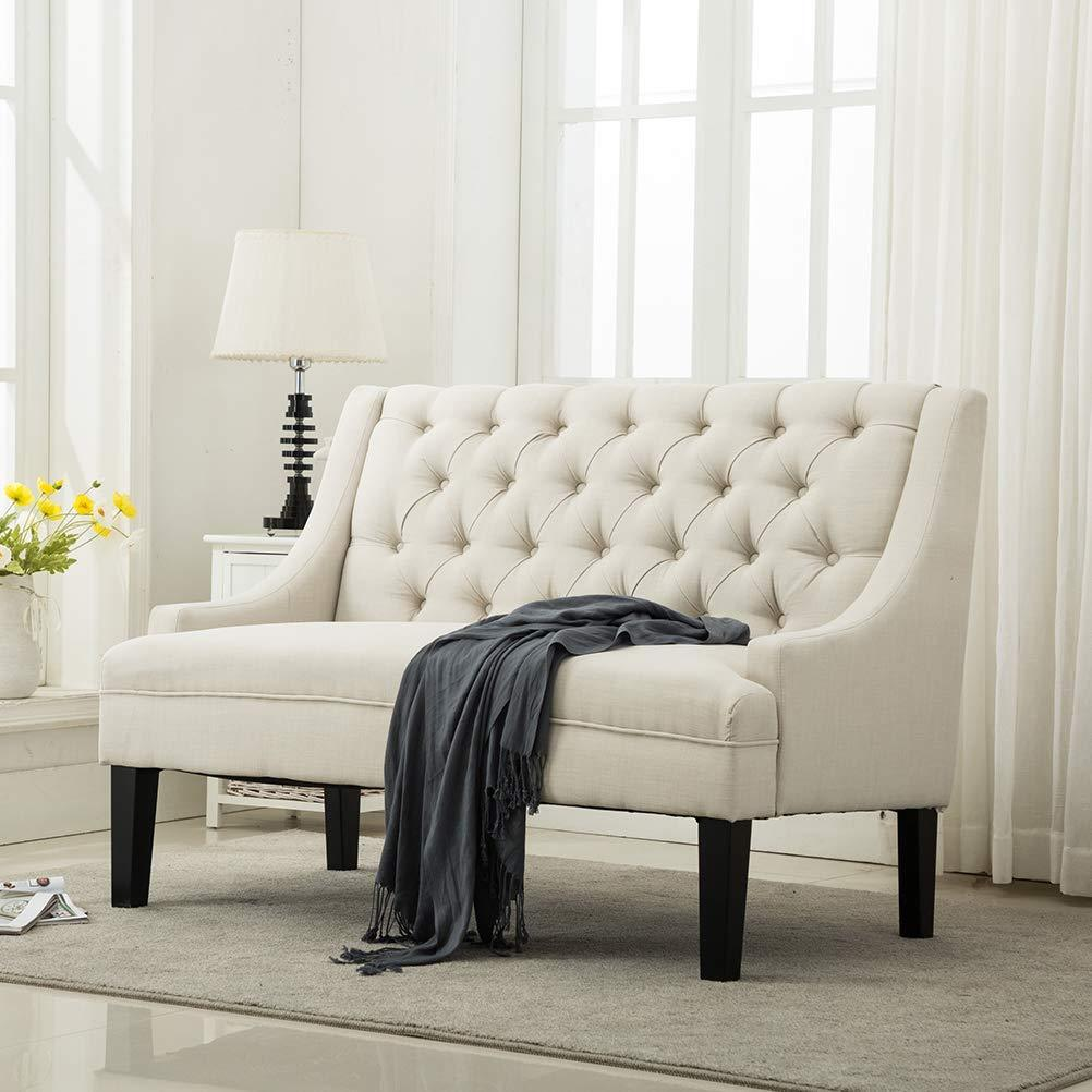Modern Settee Bench Banquette Loveseat Fabric Sofa Button Tu