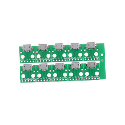 10Pcs Micro USB to DIP Adapter 5pin Female Connector B Type PCB Converter GN