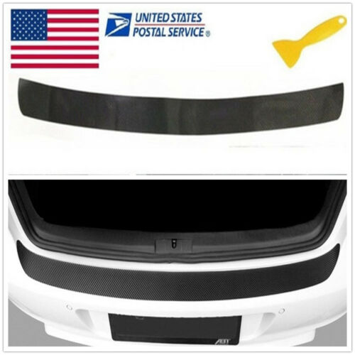 ????1PC Accessories Carbon Fiber Car Rear Guard Bumper 4D Sticker Panel Protector