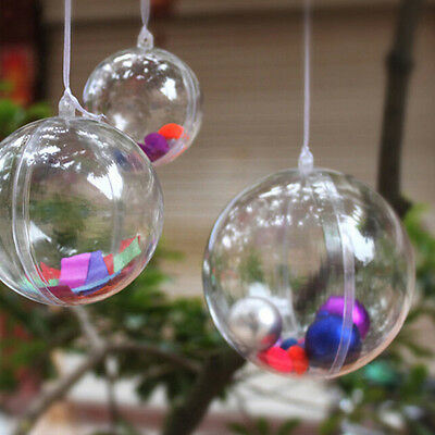 Plastic Round Ball Christmas Clear Bauble Ornament Gift Present Xmas Tree PI ()