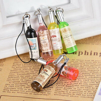 2PCS Mini Cute Wine Bottle Keyring Keychain Charm Pendant Decor Craft&&](Mini Wine Bottle)