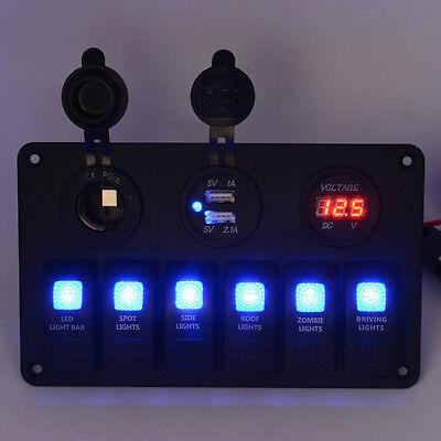 Car Marine Boat 6 Gang Waterproof Circuit Blue Led Rocker Switch Panel Breaker