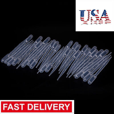 100x 3ml Disposable Polyethylene Eye Dropper Set Transfer Graduated Lq