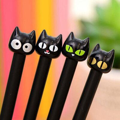 4pcs Black Cat Gel Pen Kawaii Stationery Creative Gift School Supplies 0.5mm Ij