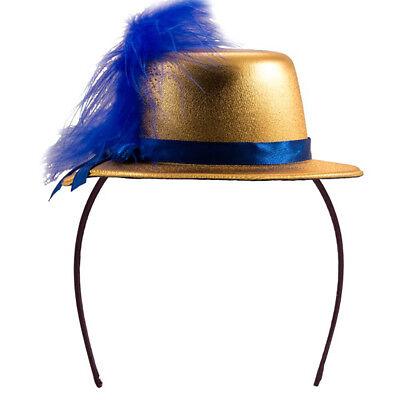 MINI TOP HAT HEADBAND GOLD METALLIC WITH FEATHER