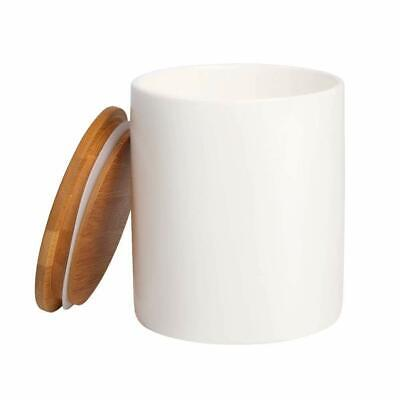 77 Life White Ceramic Food Storage Container With Air tight Wood Lid