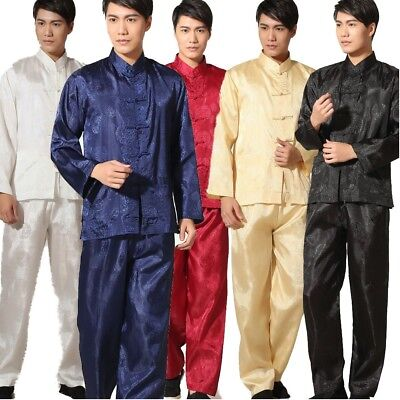 Best selling Chinese men's 囍 style Kung Fu clothing suit pajamas Size:M - (Best Mens Silk Pajamas)