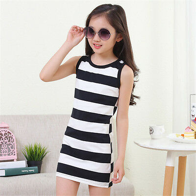 Summer Girls' Clothing Black And White Stripes Girl Dress Vest Dresses、2018 FT - Black And White Dresses Girls