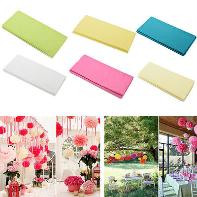 20 Sheets Tissue Paper Solid Colour Wrap Acid Free Flowers 6 Colors Qw