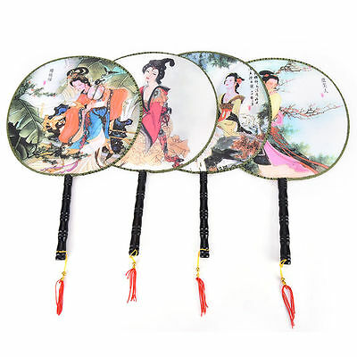 Chinese Style Round Hand Fan Elegant Pattern Polyester Home Gift Decor CM