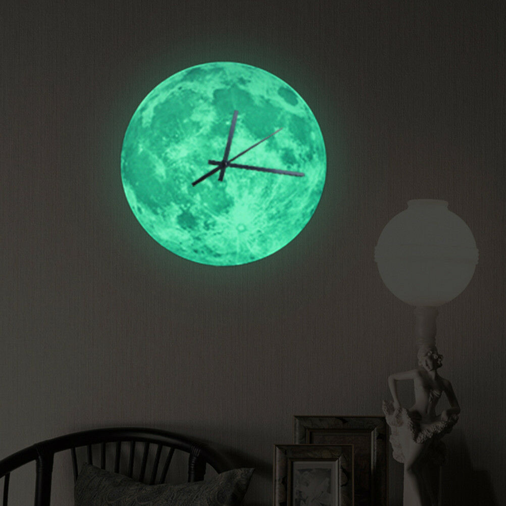 Modern 3D Wall Clock Moon Moonlight Glow In The Dark Clocks