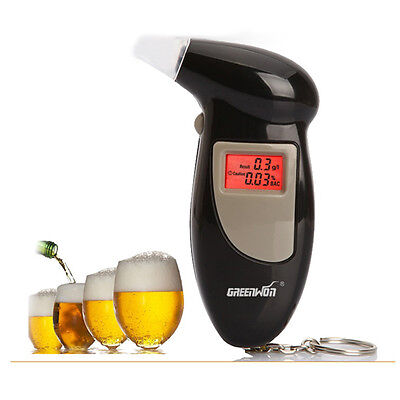 Digital LCD Breath Alcohol Breathalyzer Analyser Tester Test Detector Key Pop.