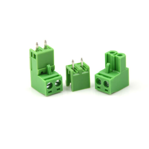 20pcs AC 300V 10A 5.08mm Pitch 2 Pin Screw Pluggable Terminal Block Green TBOEVI