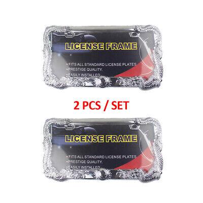 2PCS Universal 3D Dragon ABS Chrome License Plate Frame Tag Cover 2 Hole W/0 Cap