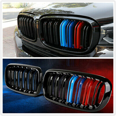 Front Sport Grill Grille For BMW F15/F16 X5 X6 2014-2017 Double Line Gloss Black