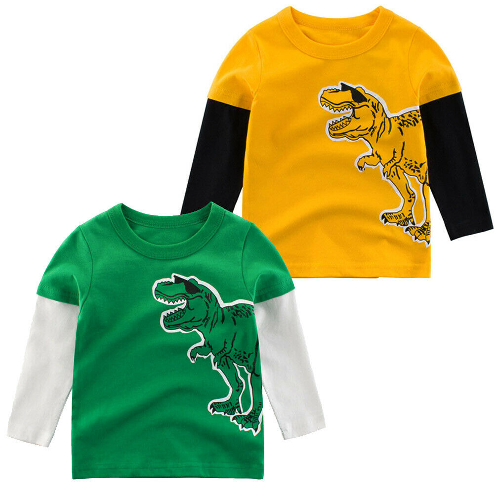 Kids Toddler Baby Boys Dinosaur T-Shirt Long Sleeve Patchwork Pullover Tee Tops