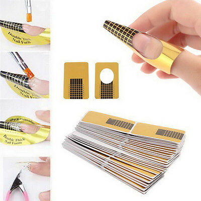 100Pcs Nail Art Tips Extension Forms Guide French DIY Tool Acrylic UV GelSN JH